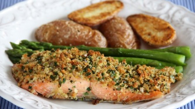 Roasted Coho Salmon with Lemon-Herb Breadcrumbs