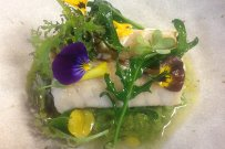 Chilipepper Rockfish with Sprouted Lentils, Spinach and Local Flowers