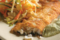 Chicken-Fried Trout with Green Tartar Sauce and Asian Slaw