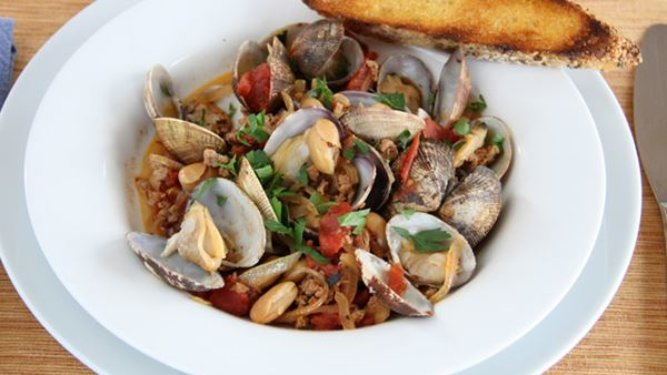Manila Clams in Spicy Tomato Sauce with Sausage and White Beans