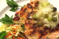 Baked Salmon Patties with Lemon Caper Sauce