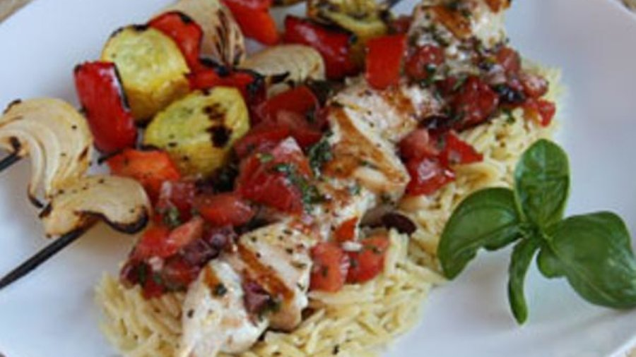 Mahi Mahi Skewers with Tomatoes and Orzo