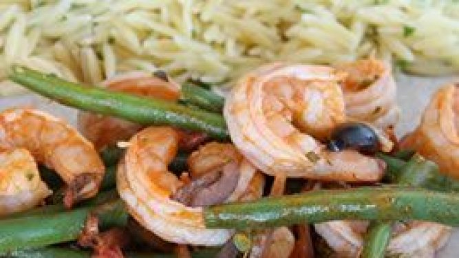 Shrimp Saute with Green Beans, Olives and Marjoram