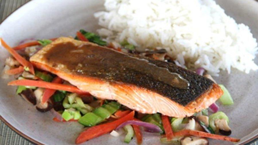 Crispy-Skin Coho Salmon with Mushroom-Miso Sauce