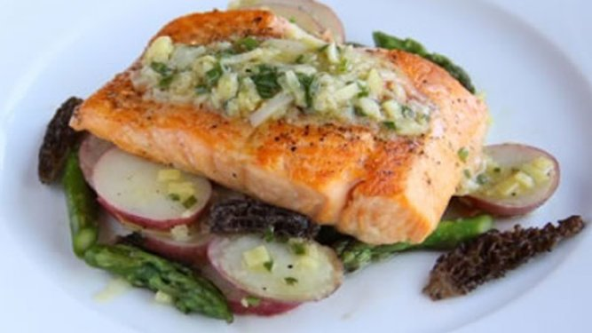 Arctic Char with Potato-Morel Salad and Leek Vinaigrette