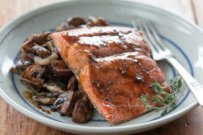 Beer-Glazed Salmon with Roasted Mushrooms