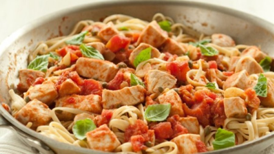 Sicilian style swordfish with pasta and capers