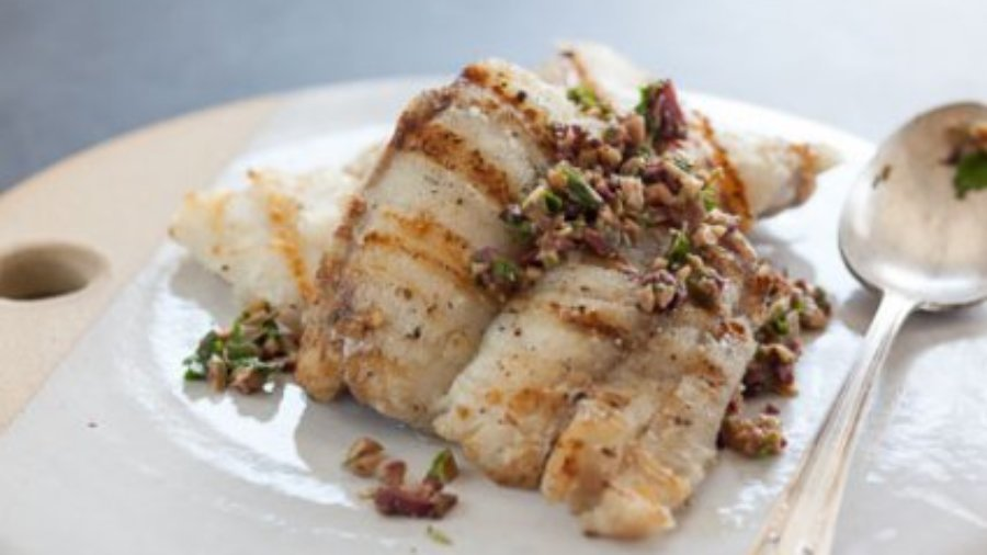 Grilled Monk Fish with Olive and Parsley Salsa