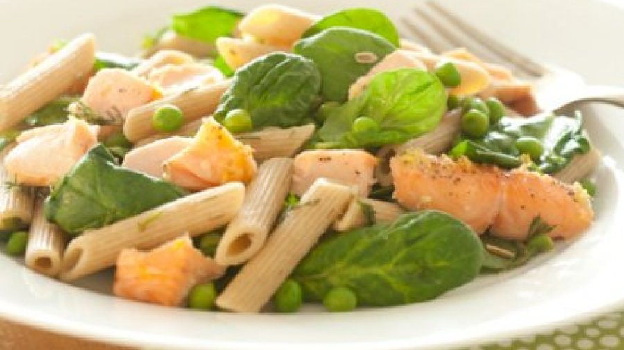 Lemony Salmon with Whole Wheat Penne with Peas & Dill