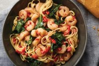 Shrimp Scampi with Roasted Peppers and Spinach