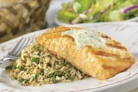 Mustard and Brown Sugar Salmon with Herbed Rice