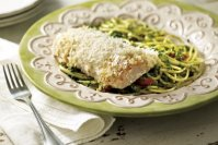 Baked Fish Au Gratin with Pesto Pasta