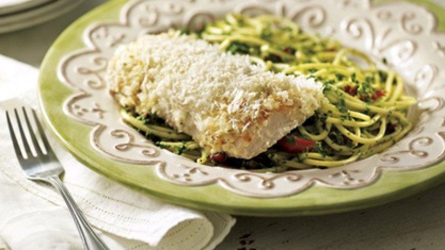 Baked Fish Au Gratin with Pesto Pasta