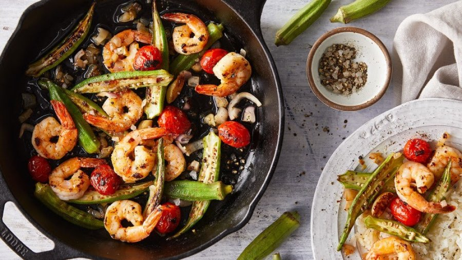 Easy Shrimp Saute with Okra and Tomatoes