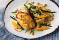 Baked Citrus Fish with Almonds and Beans