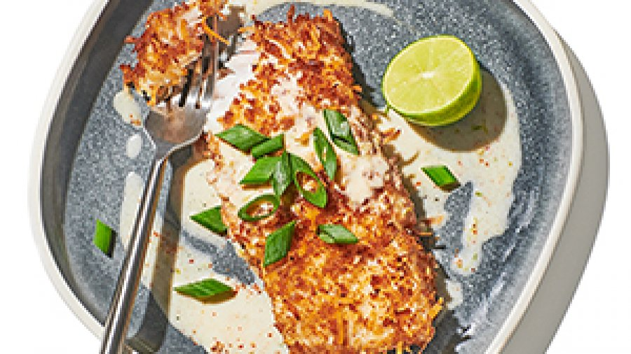 Coconut Panko-Crusted Fish with Key Lime Butter Sauce